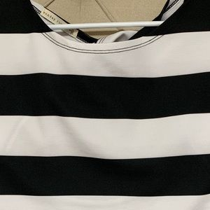 Black and white thick strip shirt